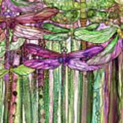 Dragonfly Bloomies 2 - Pink Art Print