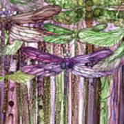 Dragonfly Bloomies 3 - Pink Art Print