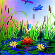 Dragonfly Pond Print by Hanne Lore Koehler