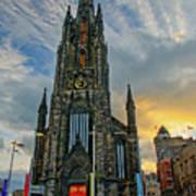 Dramatic Edinburgh Sunset At The Hub In Scotland  Art Print