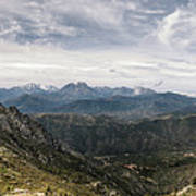 Dramatic Panoramic View Of Snow Capped Mountains Of Northern Cor Art Print