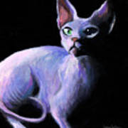 Dramatic Sphynx Cat Print Painting Art Print