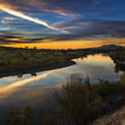 Dramatic Sunset Over Boise River Boise Idaho Art Print