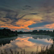 Dramatic Sunset Over The Misty River Art Print