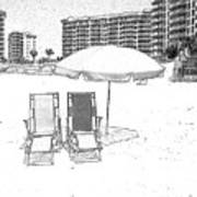 Drawing The Beach Chairs Art Print