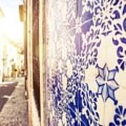 Drawing Tiles On Bairro Alto Walls In Lisbon Art Print