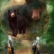 Dream Catcher - Spirit Of The Black Bear Art Print
