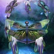 Dream Catcher - Spirit Of The Dragonfly Art Print