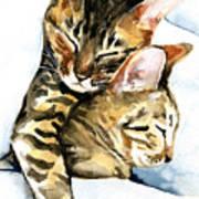 Dreamland - Bengal And Savannah Cat Painting Art Print