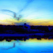 Dreamscape Blue Water Sunset  Art Print by Nada Frazier