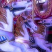 Dreamy Carrousel  Horses Art Print