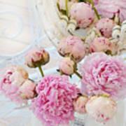 Dreamy Shabby Chic Romantic Peonies - Garden Peonies White Mason Jars Art Print