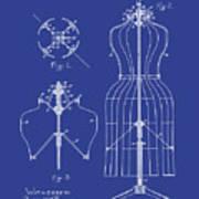 Dress Form Patent 1891 Blue Art Print