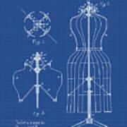 Dress Form Patent 1891 Blueprint Art Print