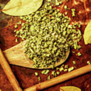 Dried Chives In Wooden Spoon Art Print
