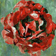 Dripping Poster Rose On Green Art Print