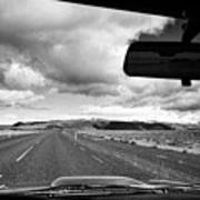 driving along the ring road Hringvegur in southern iceland Art Print