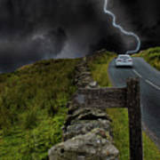 Driving Into The Storm Art Print