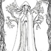 Druid Woman Shush Art Print