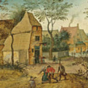 Drunkard Being Taken Home From The Tavern By His Wife Art Print