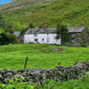Dry Stone Wall And White Cottage - P4a16022 Art Print