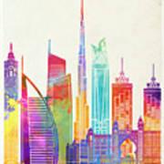 Dubai Landmarks Watercolor Poster Art Print