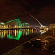 Dublin's Samuel Beckett Bridge At Night Art Print