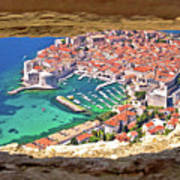 Dubrovnik Historic City And Harbor Aerial View Through Stone Win Art Print