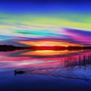 Duck Sunset Art Print