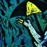 Duck With Umbrella Blue Art Print