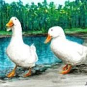 Ducks By The Pond Art Print