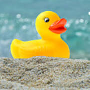 Ducky's Fun Day  At The Beach Art Print