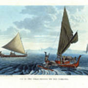 Dugout Outriggers From The Carolines Seen On Tinian Island Art Print by d apres A Berard and A Taunay