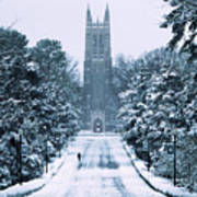 Duke Snowy Chapel Drive Art Print by Duke University