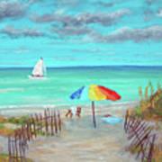 Dunes Beach Colorful Umbrella Art Print