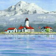 Dungeness Lighthouse With Mount Baker Art Print