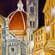 Duomo At Night Art Print