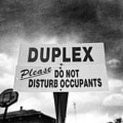 Duplex Yard Sign Stormy Sky In Bw Art Print