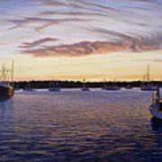Dusk At Stonington Harbor Art Print