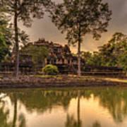 Dusk Light Preah Khan Temple Reflection Art Print