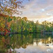 Dusk On Autumn Lake  Art Print