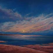 Dusk Over Distant Ocean City Art Print