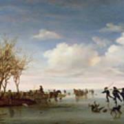 Dutch Landscape With Skaters Art Print