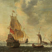 Dutch Ships In A Lively Breeze Art Print