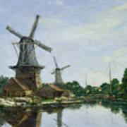 Dutch Windmills Art Print by Eugene Louis Boudin