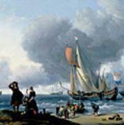 Dutchman Embarking Onto A Yacht Art Print