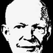 Dwight D. Eisenhower White On Black Pop Art Art Print