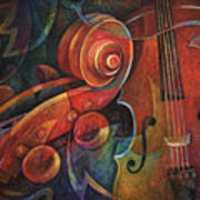 Dynamic Duo - Cello And Scroll Art Print