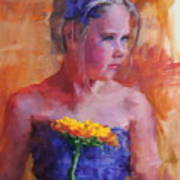 E With A Yellow Flower Art Print