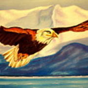Eagle And Mountains Art Print